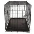 Клетка №5 для животных, 2 двери, эмаль черная, пласт.поддон, 111х74х80см