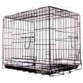 Клетка №3 для животных, 2 двери, эмаль (черная), пласт.поддон, 78х48х55см