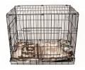 НАБОР: Клетка №3 для животных, 2 двери, эмаль, мет.поддон, 76х53х61см + лежанка + 2 подвесные миски 0,6